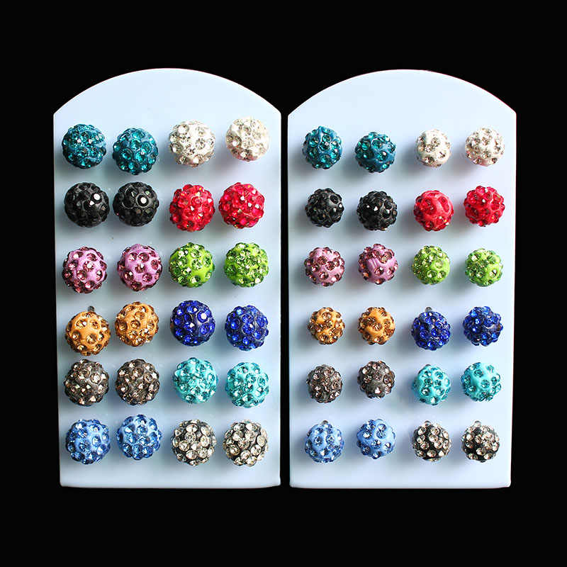 ISINYEE 12 pairs/set Fashion Small Balls Stud Earrings Set For Women Little Girls Kids Trendy Colorful Crystal Earring Jewelry