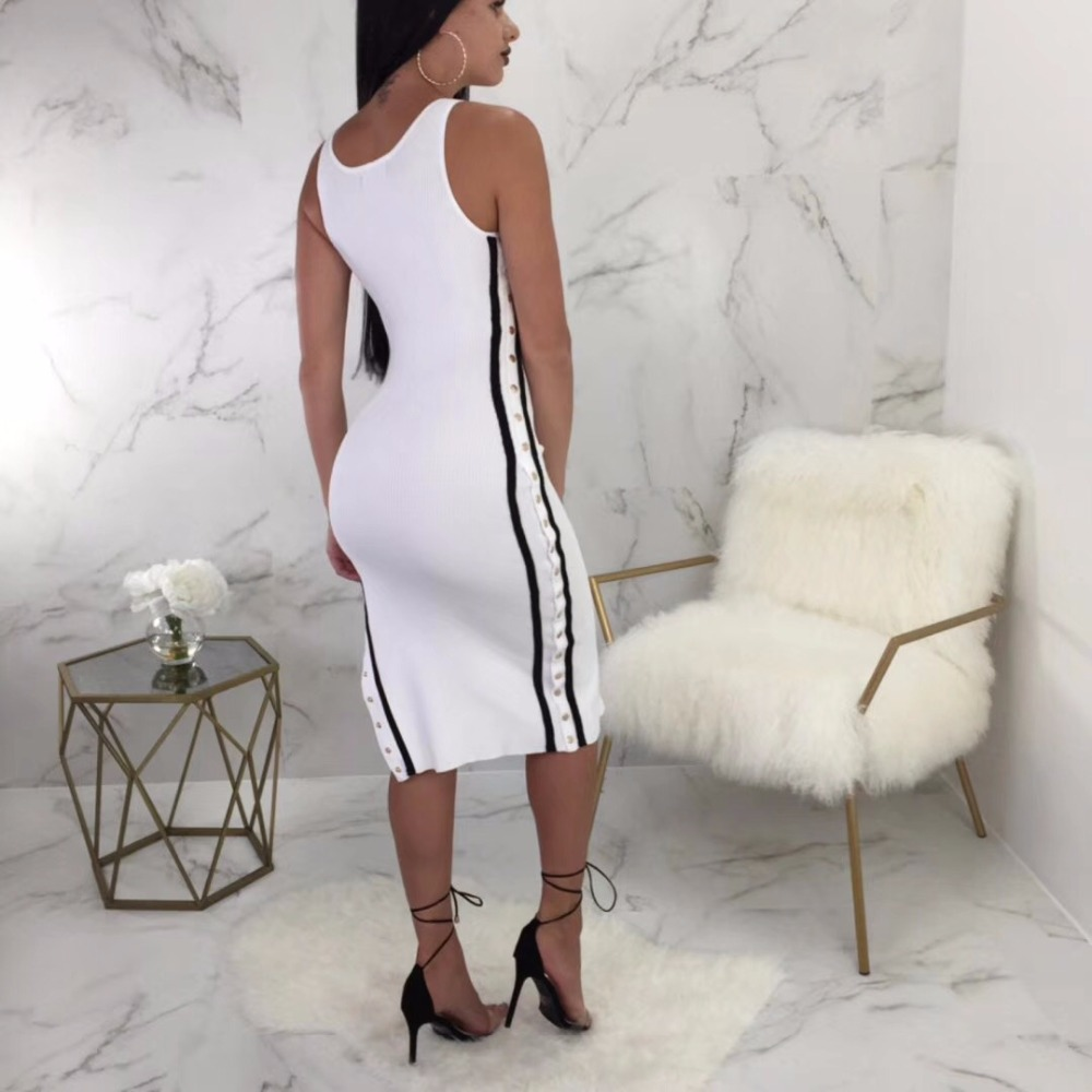 Lato Bianco Forcella Aperta Qualità Fasciatura Partito Di Alta Vestito Lunghezza Del Dalla Ginocchio Rayon Aderente qHwIExtxn