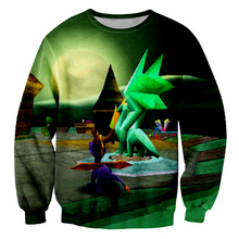 Man Colored Landscape Sweatshirt Mens Casual Loose Pullover 3D Full Printed Creative House And Green Monster Hipster O-neck Top