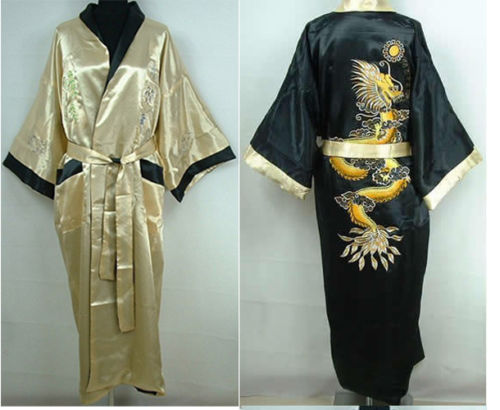 Yellow Black Chinese Style Men s Double Face Reversible Kimono Robe Gown  Embroidery Dragon Sleepwear-in Robes from Underwear   Sleepwears on  Aliexpress.com ... ebd04548e