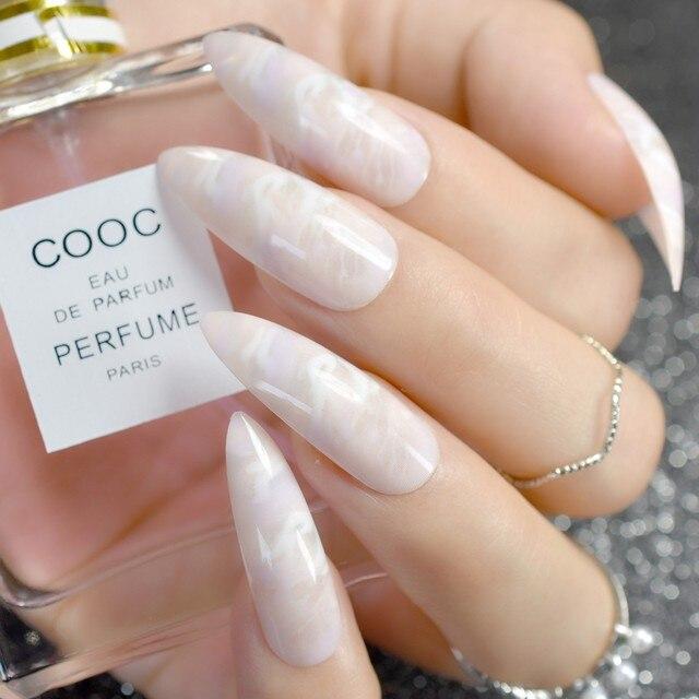 Online Shop 24Pcs Gradient Long Stiletto Nails Marble Patterns ...