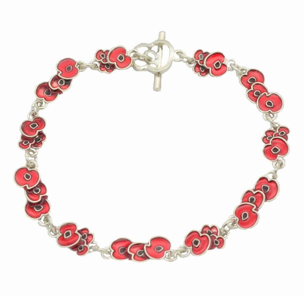 Buy red enamel poppy flower bracelet for Buying jewelry on aliexpress