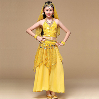 Indian Sari Children Indian Dance 5 piece Costume Set (Top, Belt, Skirt and Head Pieces) Kids Bollywood Dance Costumes for Girls