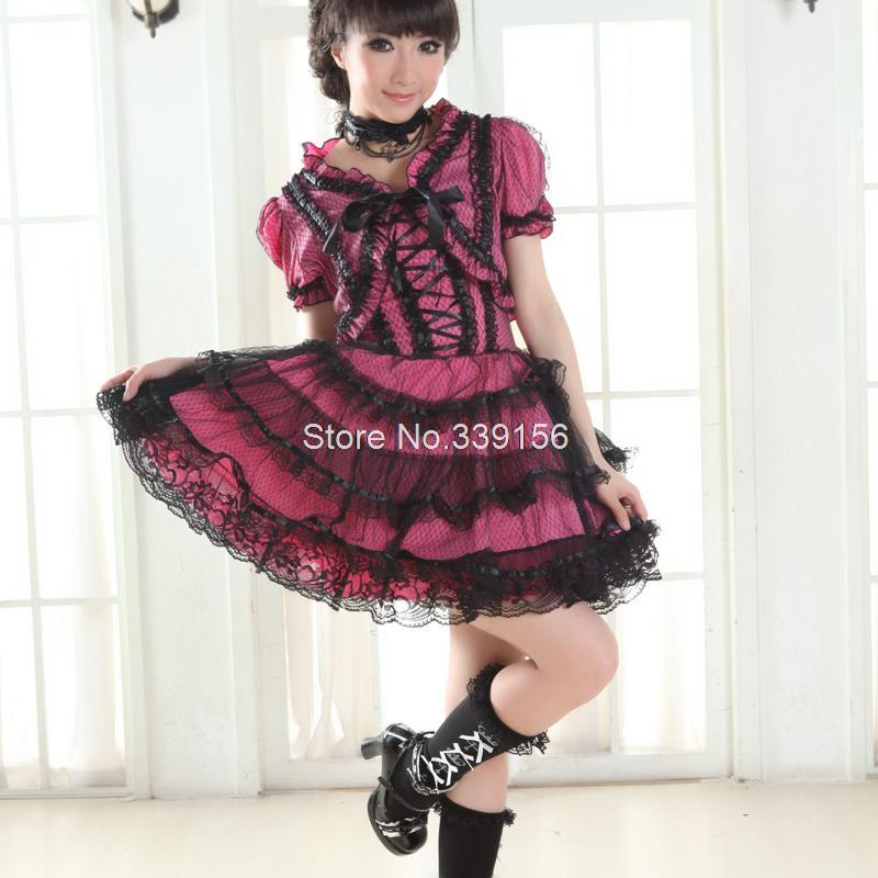 New Spaghetti Strap Lolita Gorgeous Lace Knee-Length Vintage Dresses Women's Short Sleeves Sweet Lolita Dress High Quality