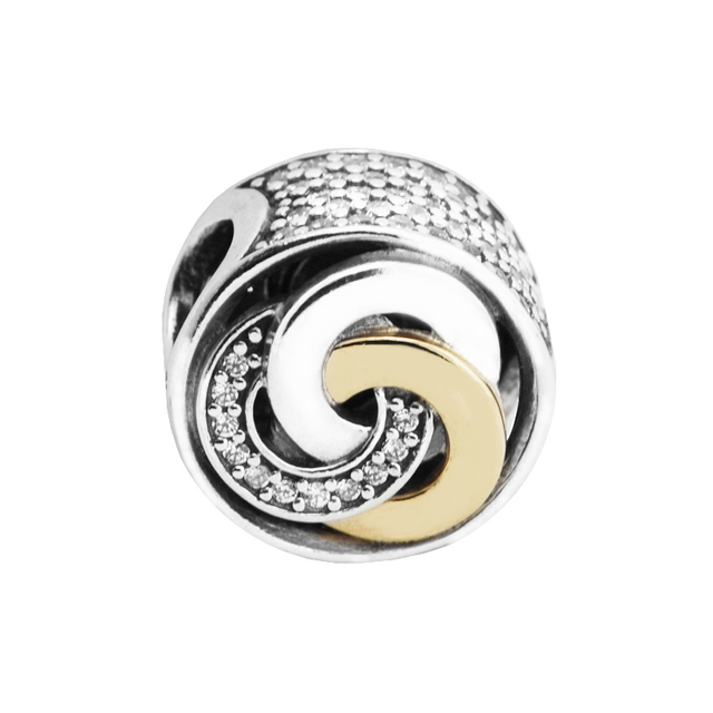 Interlinked Circle Love Paved Bead Fit European Charms Bracelets 925 Sterling-Si