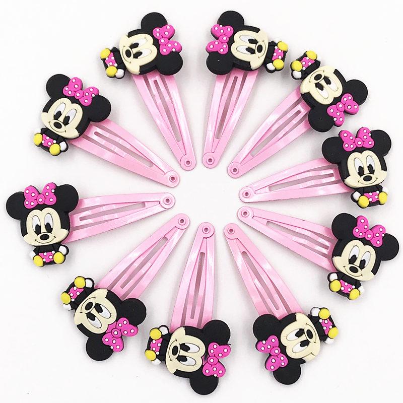 10pcs Mickey Minnie Bow Tie Wave Point Donald Duck Pvc Cartoon Hairpins Girls Hair Accessories Barrette Hair Clips Hairwear #2