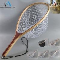 Maximumcatch Fly Fishing Landing Net Clear Rubber Mesh Trout Catch Release Net Wooden Frame