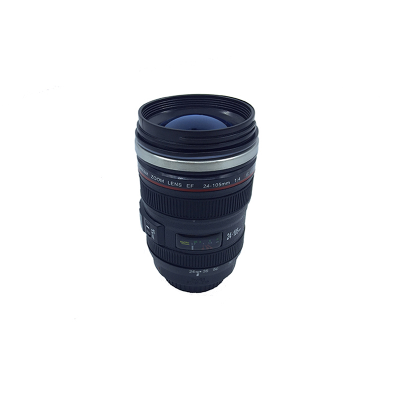 Creative SLR Camera Lens mugs 1:1 Scale Plastic Coffee mugs 400ML Stainless Steel Fashion insulation Coffee Tea mugs with lid