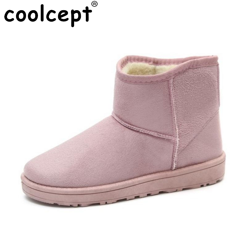 Coolcept  7 Colors Women Half Short Snow Boots For Cold Winter Shoes Flats Boot Thick Fur Short Botas Women Footwear Size 36-40