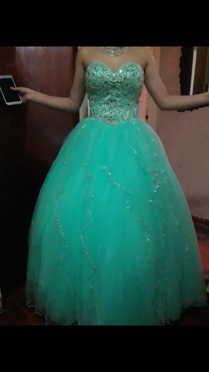 Vestidos De Quinceanera De Cuentas De Cristal De Organza Verde Aqua Vestido De Baile Vestidos De 15 Anos Correas De Espagueti