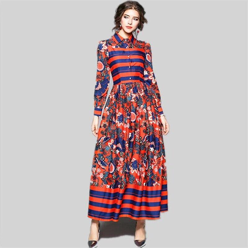 Printemps automne 2019 robe femmes fleur imprimé robe robe de soirée décontracté Vintage Floral robes col rabattu minceur robes