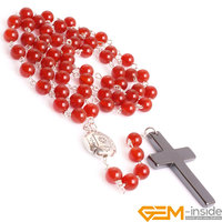 8mm Natural Stone Beads Anglican Muslim Catholic Christian Episcopal Prayer Rosary Beads Bracelet Necklace Jesus For