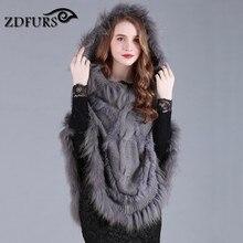 Zdfurs * весна осень мех кролика мыс трикотажные мех пончо с енота меховой отделкой женщин sweatercoat zdkr-165009