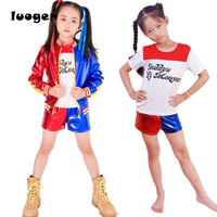 Kids Girls Suicide Squad Harley Quinn Cosplay Costumes Full Set Children Fancy Dress Halloween Jacket Shirt