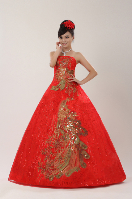 2015 Red lace up tube top wedding dress Chinese style traditional ...