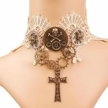 Women`s Beige Lace with Vintage Gears and Skull Cross Pendant Steampunk Lace Choker Collar Necklace Jewelry