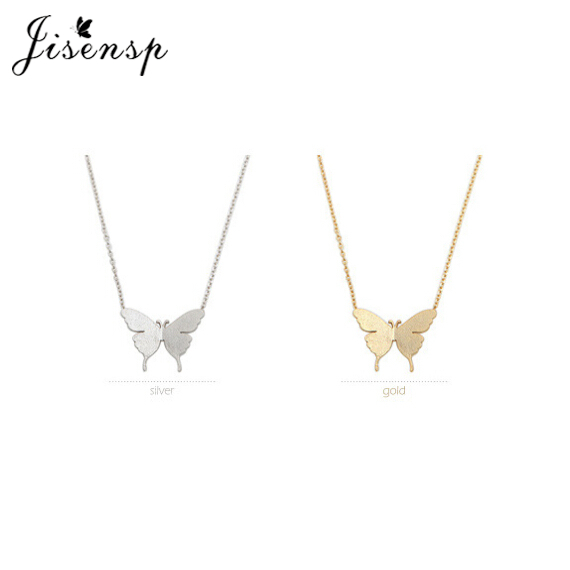 Jisensp Classic Cute Butterfly Necklace para Mujeres Simple Animal Collier Mujeres Collar de Cadena Larga Joyería Vintage Regalos de Fiesta
