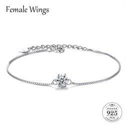 Женские крылья Настоящее серебро 925 проба Циркон драгоценный камень браслет-цепочка для девочек на день рождения подарки Для женщин CZ