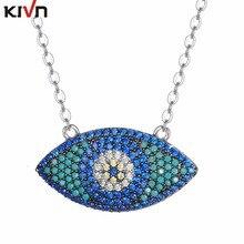 KIVN Fashion Jewelry Turkish Blue eye CZ Cubic Zirconia Womens Girls Bridal Wedding Pendants Necklaces Christmas Birthday Gifts
