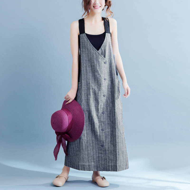 dd0a294fe3009f Plus Size S 5XL 2018 Women Dress Casual Striped Print Sleeveless V Neck  Loose Dresses Pockets Button Summer Baggy Vestidos-in Dresses from Women s  Clothing ...