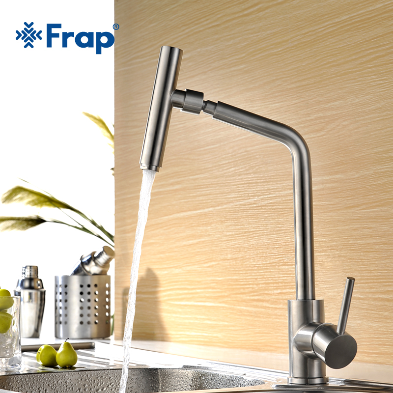 FRAP Kitchen sink Faucet Single Handle 360 Degree Swivel Spout 304 stainless steel Basin Faucet Hot Cold Water Mixer FLD1893 kitchen sink faucet single lever hot and cold torneira nano stainless steel modern faucet 720dergree swivel mixer sink water tap