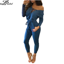 Happy Sailed 2016 Winter Jumpsuit Women Clothes High Quality Black Blue Large Size Lace Up Long Sleeve Rompers Overalls 64223