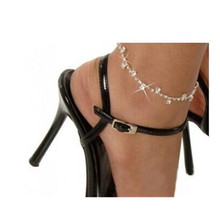 Bijoux New Men Boho Beach Love Girl Silver Plated Crystal Rhinestone Anklets For Women Foot Jewelry BAREFOOT SANDALS L189