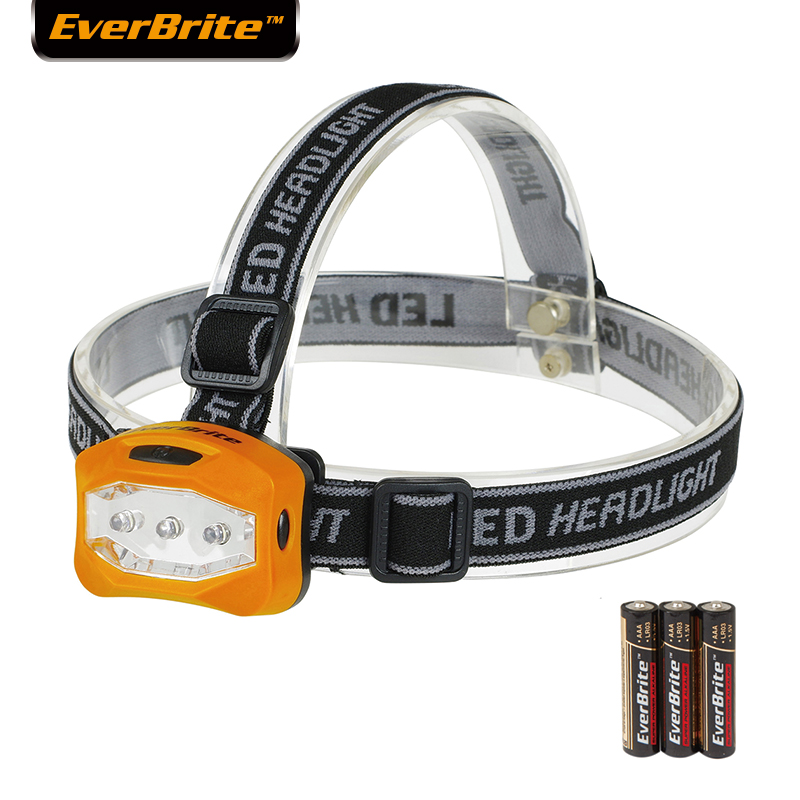 EVERBRITE LED fényszóró 2 üzemmódú fejlámpa zseblámpa túrázáshoz Kemping éjszakai horgászat 3AAA akkumulátorokkal