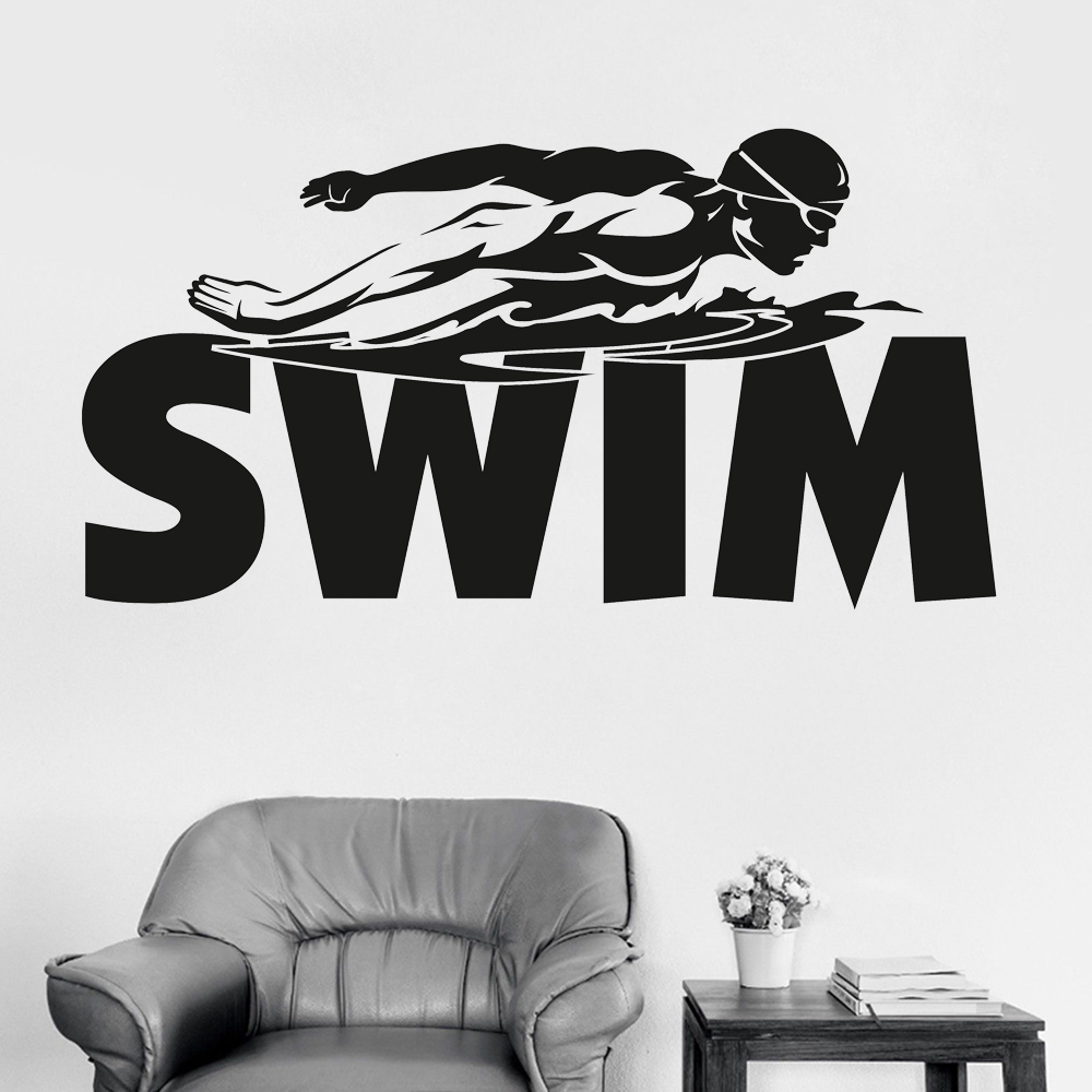 New Style Swimming Boy Wall Stickers Decal For Teen ...