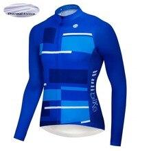 Wulibike Winter Thermal Fleece Cycling Jersey Long Sleeve MTB Bike Shirt  Blue 9938f32cd