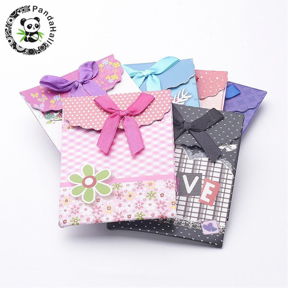 Paper Gift Shopping Bags, Valentines Day Packages, Rectangle with Bowknot, Mixed Color, 105x75mm