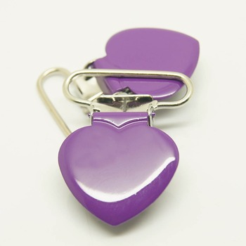 100pcs per lot heart shaped suspender clips in purple color wholesale heart suspender clips enamel suspender clips фото