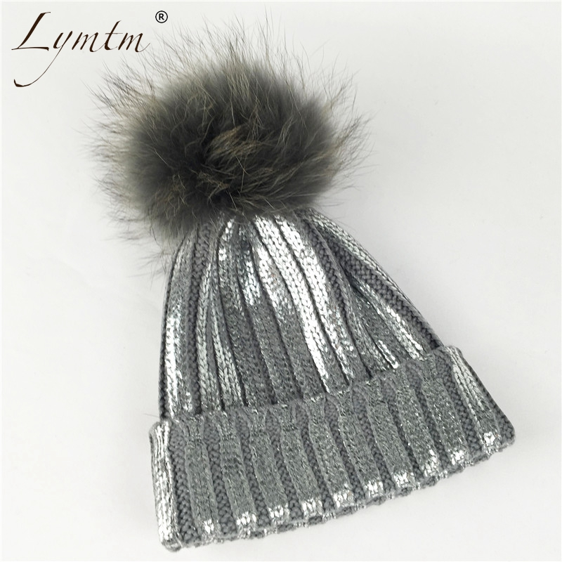 New Faux Raccoon Fur Pompom Metallic Color Beanie Women Winter Warm Plus Size Gray Removable Pompom Ski Knitted Hat For Girls