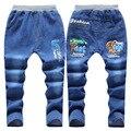 2016 nuevos niños Del Otoño ropa del muchacho de los pantalones vaqueros de los niños grandes niñas vírgenes envejecido 6-14 pantalones de mezclilla