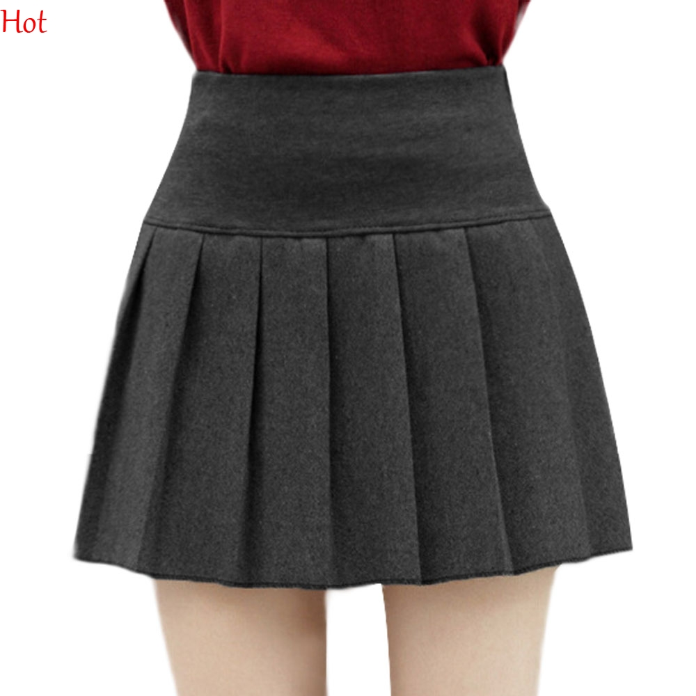 Grey Pleated Mini Skirt Promotion-Shop for Promotional Grey ...