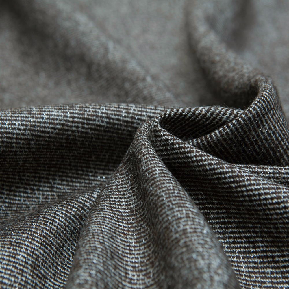 Yarn-dyed Brown Color Twill Wool Fabric,Light Blue Metallic,Sewing for Suit, Dress, Pants, Jacket, Coat, Craft by the yard