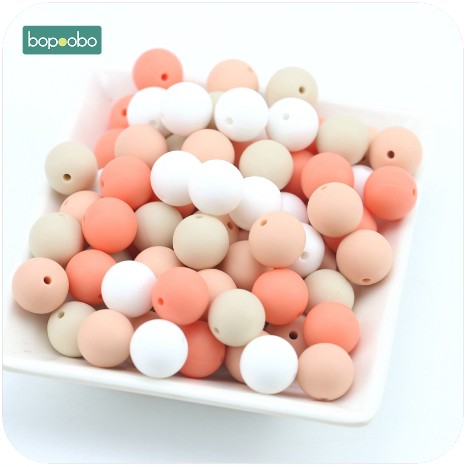 Bopoobo Baby Nursing Accessories 15mm 10pc Silicone Beige Series Bead DIY Crafts Silicone Teething Bracelet Baby Teether