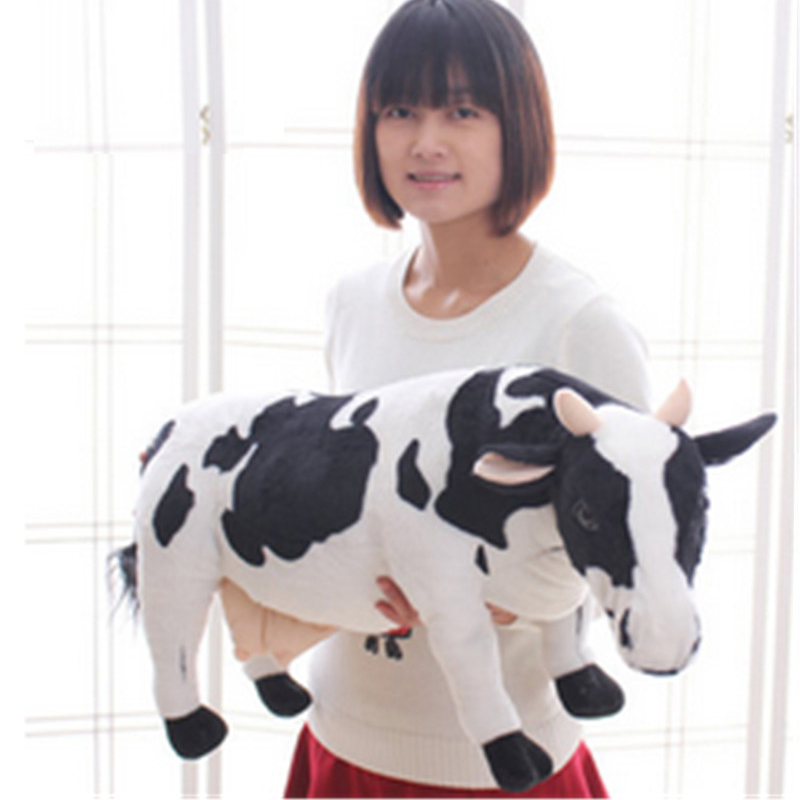 Fancytrader Big 70cm Emulational Milk Cow Toy Plush Soft Stuffed Big Animal Cow Doll Nice Gift
