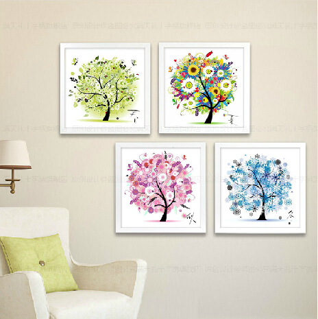 [Super deals]Needlework Cross stitch,Embroidery kit set,4 seasons rich spring summer autumn winter tree Cross-Stitch painting