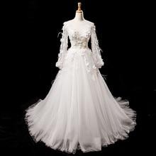 White Retro Long Sleeves Wedding Dress 2019 Serene Hill