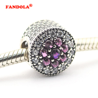 Fits Pandora Bracelet 100% 925 Sterling Silver Beads Sparkling Dazzling Floral with Multi Colored Cubic Zirconia Jewelry FL357