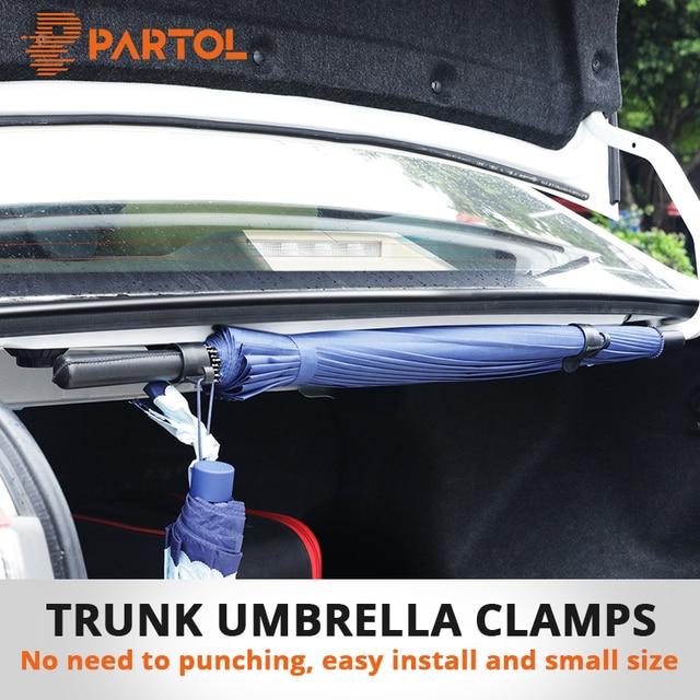 Partol 2pcs/Pack Car Trunk Umbrella Bracket Retention Clips Automobile Trunk Organizer for Umbrella Hanging Hooks for Travelling