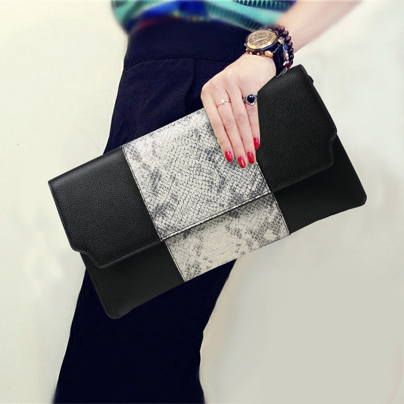 High Capacity Hand Bag Purse Serpentine Genuine Leather Women Wallet Evening Clutches Envelope Shoulder Hand Clutch Bag 5 Style vintage serpentine genuine leather woman clutches evening bag crossbody chain shoulder bag handbag clutch wallet lady long purse