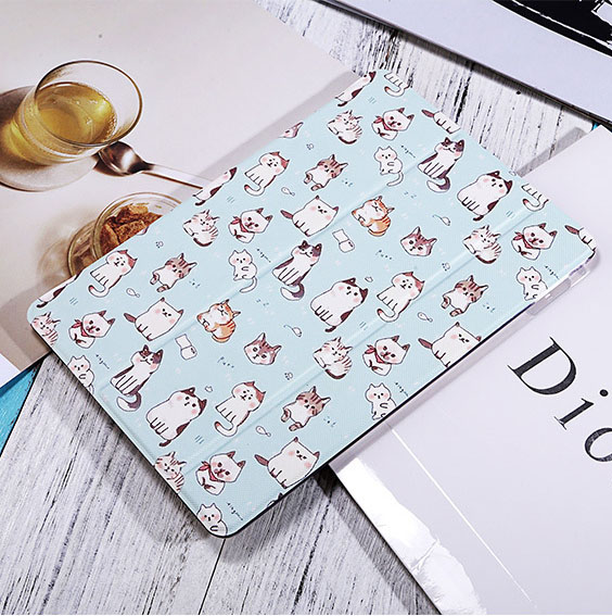 Animal print smart case cover for Ipad air2 Ipad6, Cat pu leathe front case with transparent back cover A1566 A1567 protector