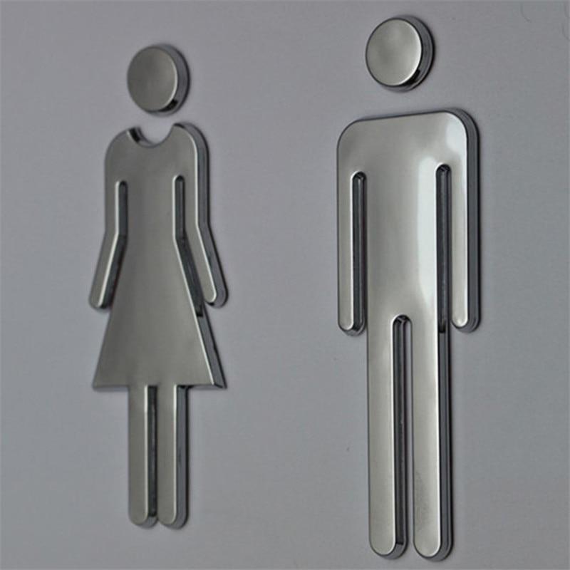 3D DIY Woman&Man Toilet Door Sign Bathroom Restroom WC Door Sign for Toilet Door Sign Wall Sticker Decor Removable