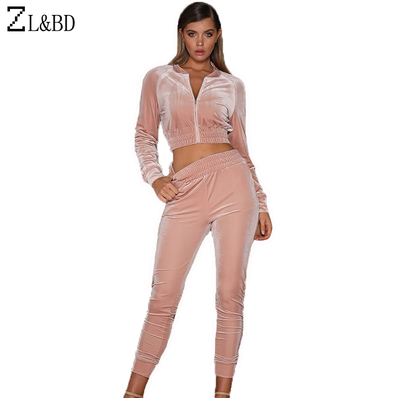 ZL&BD sudaderas mujer Women Sportwear Tracksuits 2 Pcs Set Spring Velvet Crop Top Sweatshirt Casual Zipper Jacket Hoodies ZA251