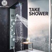 Насадка для душа со светодиодной подсветкой панель водопад Дождь душ кран Набор SPA Массажная струя для ванной душ Колонка смеситель башня