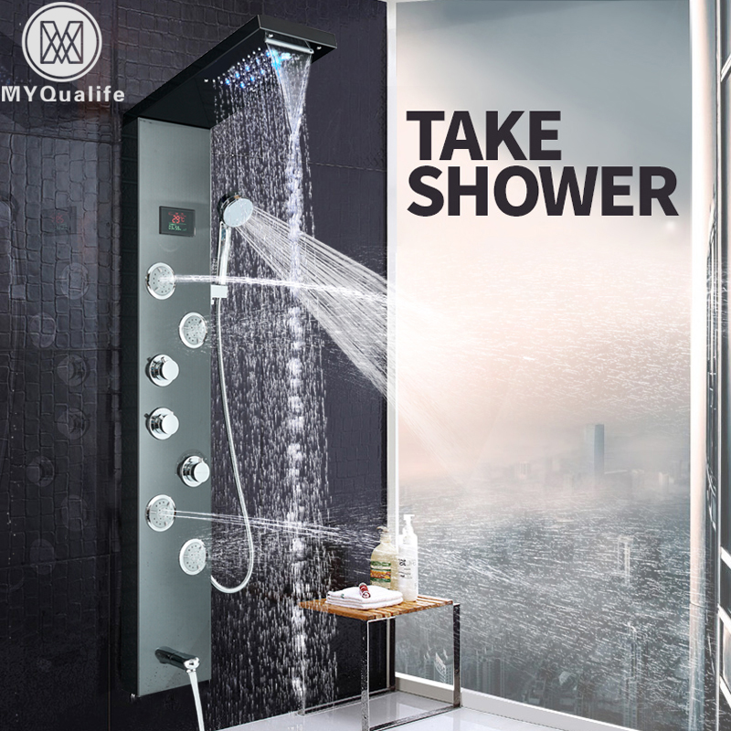 LED Light Shower Panel Waterfall Rain Shower Faucet Set SPA Massage Jet Bath Shower Column Shower Mixer Tap Tower brushed nickel shower panel wall mount waterfall rain shower mixer faucet stainless steel spa massage sprayer shower column tap
