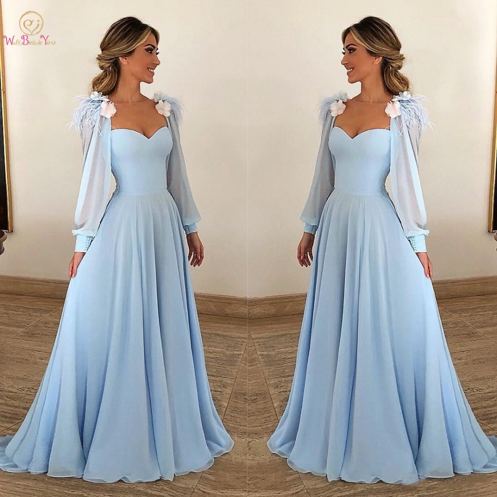 Sky Blue Evening Dresses Sheer neck Chiffon Long Sleeves with Feather Flower A line Prom Gown