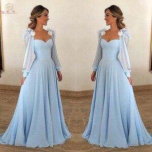 Image 1 - Небесно Голубые Вечерние платья с длинными рукавами из шифона с перьями, а силуэта, бальное платье для выпускного вечера, 2020, прогулка рядом с вами